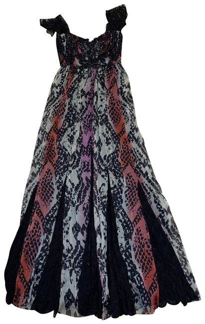 Item - Black Pink Cream Lace and Silk Long Formal Dress Size 2 (XS)