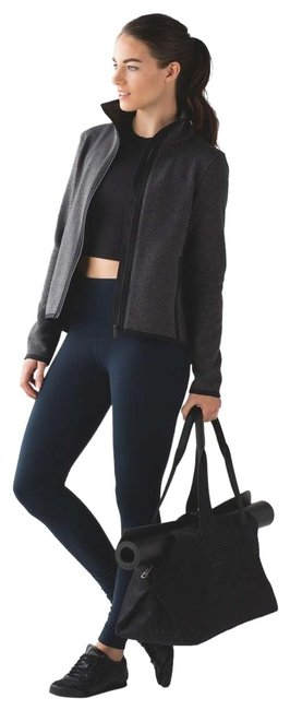 Item - Gray Its Fleecing Cold Zip Up Heathered Black / Black Activewear Outerwear Size 8 (M)