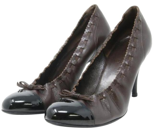 Item - Brown/Black Two Tone Leather Cap Toe Ballet Cc Bow Elastic Pumps Size EU 36.5 (Approx. US 6.5) Regular (M, B)