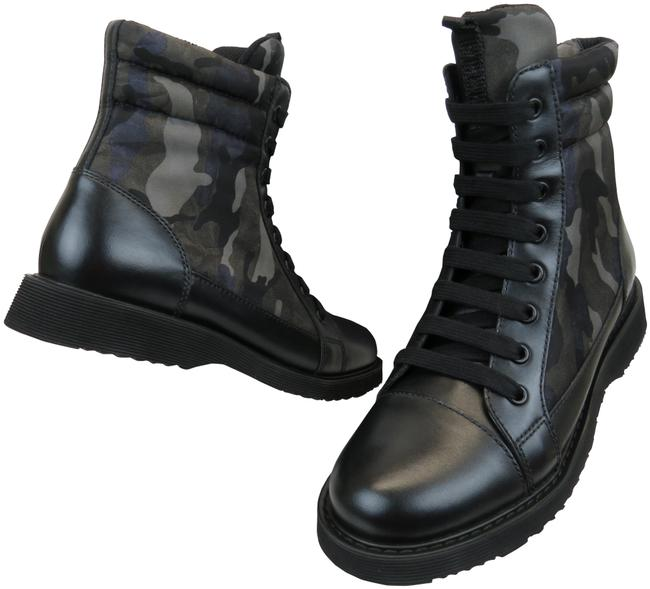 Item - Gray 0t0782 Kids Camouflage Leather Lace Up Combat 6.5 Boots/Booties Size EU 36 (Approx. US 6) Regular (M, B)