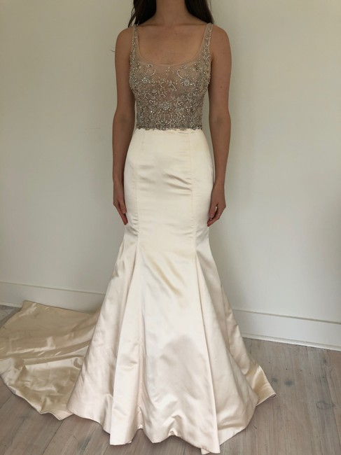 Lazaro Blush Silk Satin 3802 Gown Formal Wedding Dress Size 10 (M) Lazaro Blush Silk Satin 3802 Gown Formal Wedding Dress Size 10 (M) Image 1