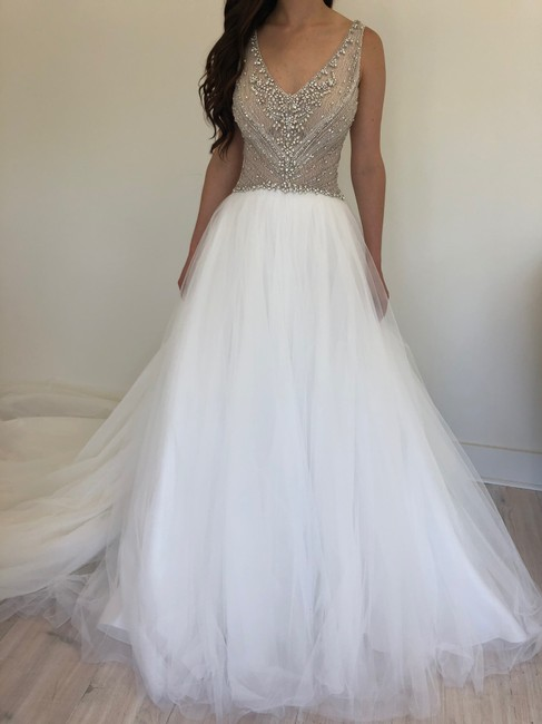 Item - Ivory Over Nude/Silver Accent Tulle Bardot Gown Feminine Wedding Dress Size 12 (L)