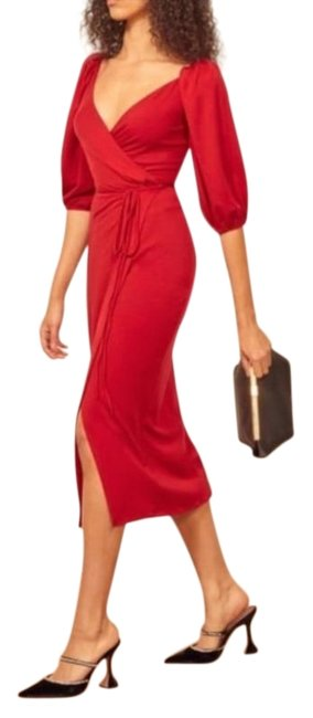 Item - Red Calabra Mid-length Night Out Dress Size 8 (M)