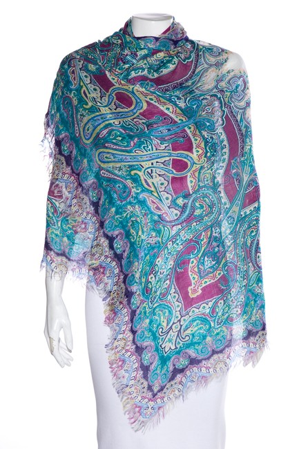 Item - Multicolor Blue Linen-blend Abstract Scarf/Wrap