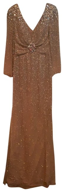 Item - Nude/Silver Long Sleeves Deep V with Mesh. 11004 Formal Dress Size 2 (XS)