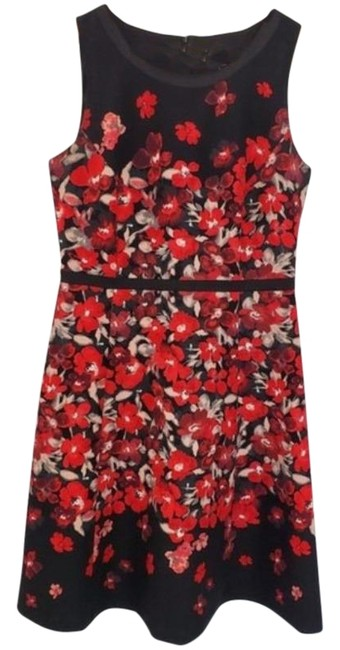 Item - Red & Black Sleeveless Floral Print Mid-length Work/Office Dress Size 8 (M)