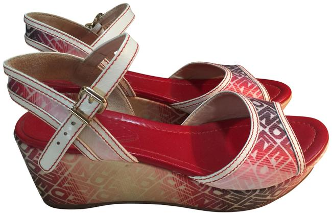 Item - Red White Grey Italy Ankle-strap Wedges Size EU 37 (Approx. US 7) Regular (M, B)