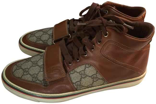 Item - Brown Beige Green Hi-cut Leather Fashion Sneakers Size US 9 Regular (M, B)