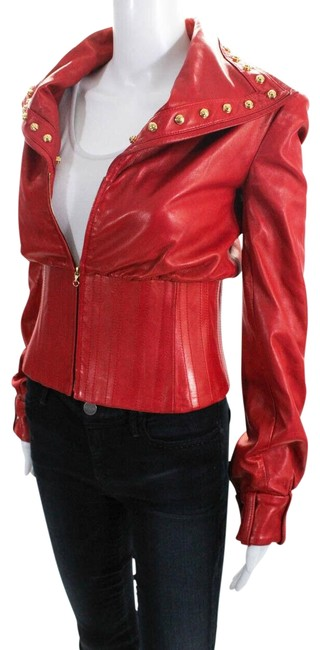 Item - Red Couture Womens Long Sleeve Studded Collar Leather Jacket Size 0 (XS)