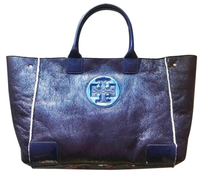 Item - Shearling Deep Navy with Deep Purplish Undertone Patent Leather Tote