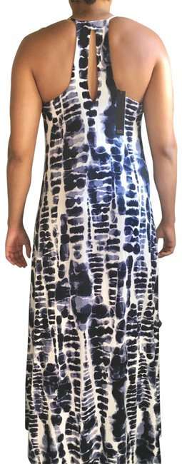 Item - Blue White Ty Dyed High/Low Razor Back Long Night Out Dress Size 10 (M)
