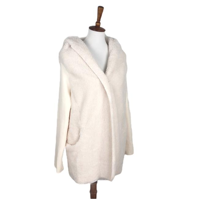 Item - Cream Faux Fur Fuzzy Open Front Jacket Hooded Plush Cardigan Size 4 (S)