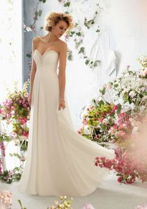 Mori Lee Ivory Chiffon 6762 Destination Wedding Dress Size 10 M