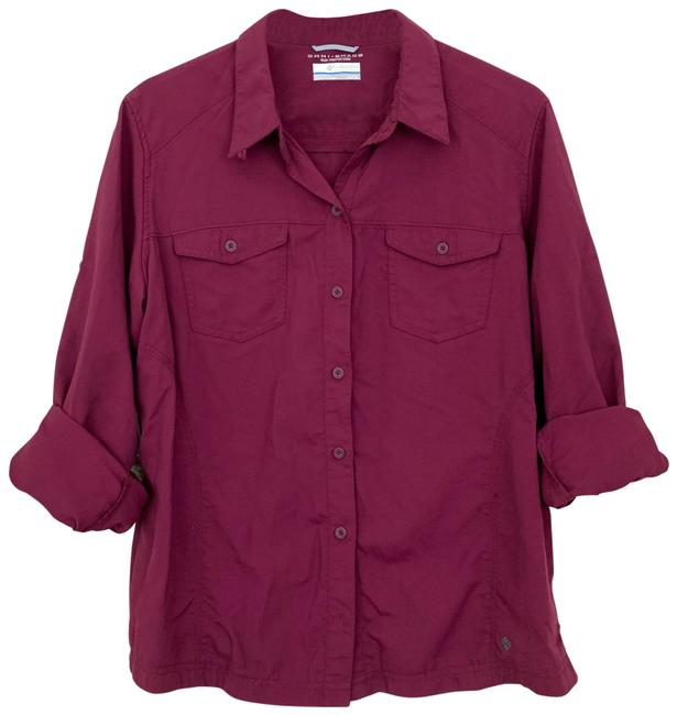 Item - Red Purple Omni Shade Button Down Shirt Activewear Top Size 16 (XL, Plus 0x)