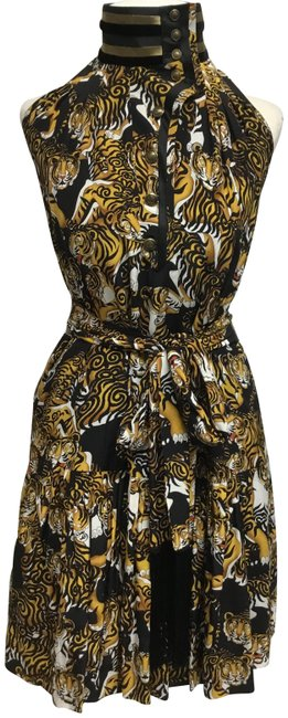 Item - Black And Gold Tiger Print Sleeveless Short Casual Dress Size 4 (S)