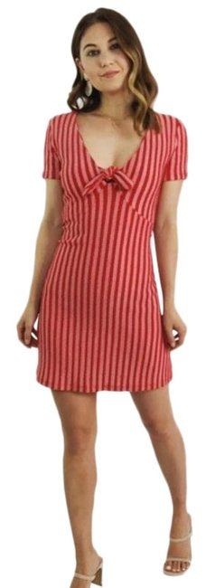 Item - Red Striped Tie Front Mini Short Casual Dress Size 4 (S)