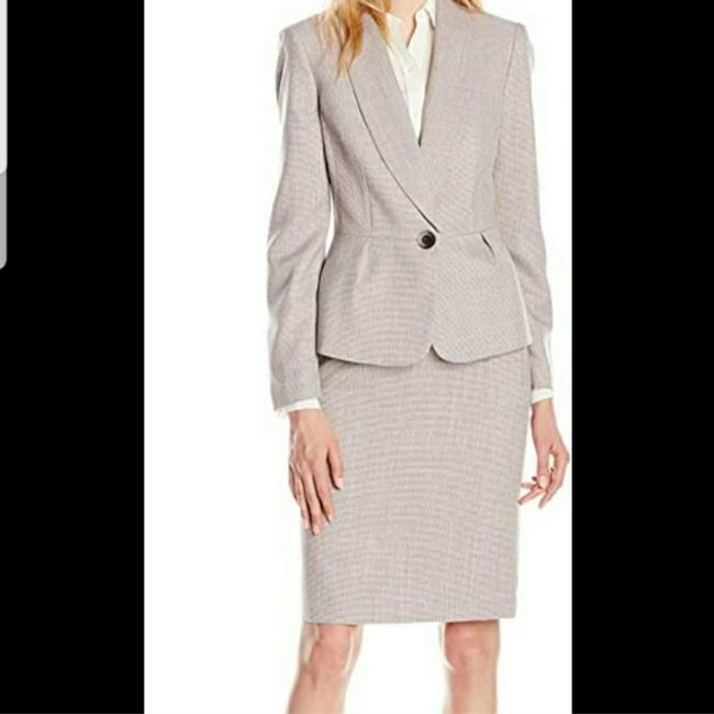 Item - Gray And Pink Woven Pattern Skirt Suit Size 4 (S)