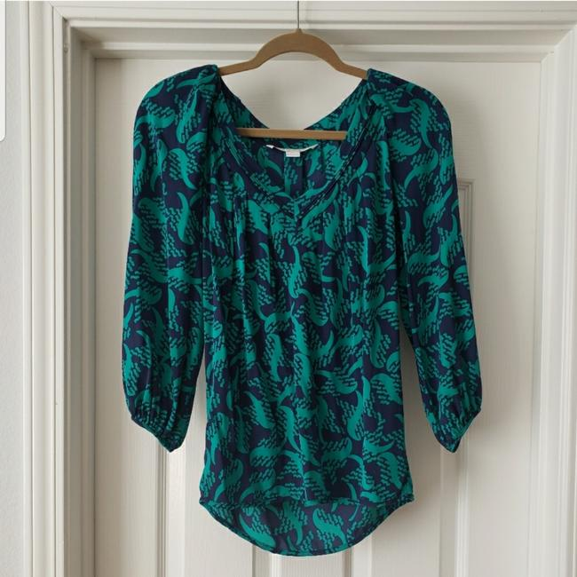 Item - Green Blue and Printed Silk Blouse Size 2 (XS)