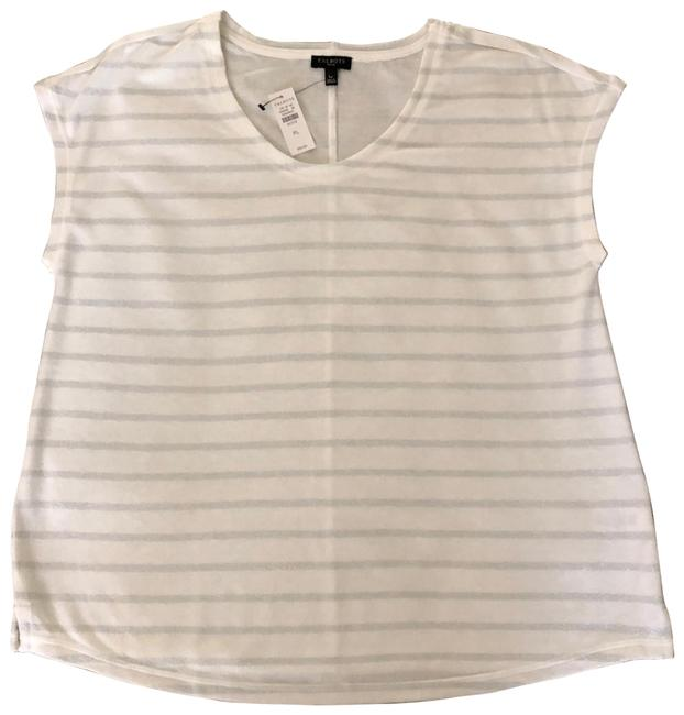 Item - White and Silver Shimmer Stripe Soft Tee Shirt Size Petite 12 (L)