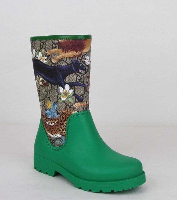 Item - Green Lion/Tiger/Leopard Gg Coated Rain Boots 30/Us 12.5 442772 8953 Shoes