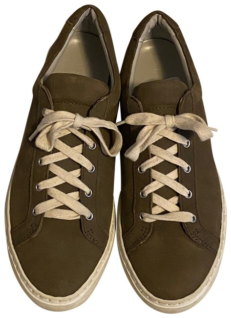 Item - Olive Green Sporty Lace Flat Sneakers Size US 7.5 Regular (M, B)