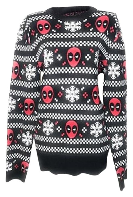 Item - Deadpool Holiday Snow Stripes Red and Black Sweater