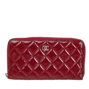 Chanel Quilted zip around Long Wallet