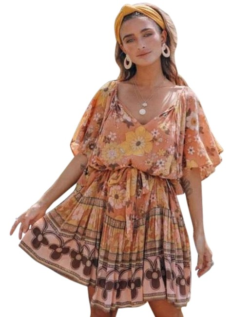 Spell & the Gypsy Collective Pink New Buttercup Caramel Short Casual Dress Size 8 (M) Spell & the Gypsy Collective Pink New Buttercup Caramel Short Casual Dress Size 8 (M) Image 1