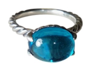 David Yurman David Yurman Cable classic oval ring with blue topaz, size 7.75