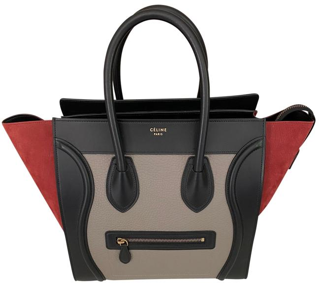 Item - Luggage Mini Tricolor Black Gray Ruby Lambskin Leather Satchel