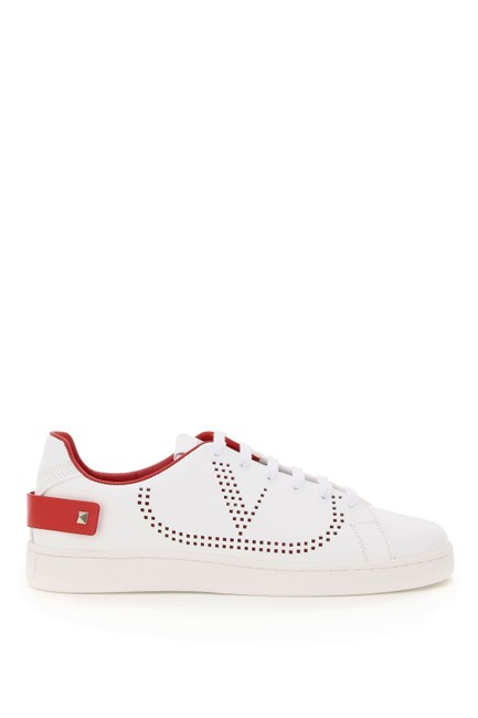 Item - White/Red Sn Vlogo Backnet Leather Sneakers Size EU 39 (Approx. US 9) Regular (M, B)