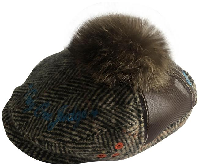 Dsquared2 Plaid Brownish Grey Flat Cap with Fur Pom Hat Dsquared2 Plaid Brownish Grey Flat Cap with Fur Pom Hat Image 1