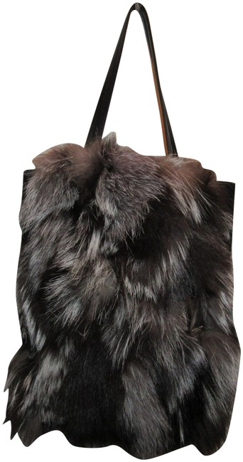 Michael Kors Collection Eleanor Black Silver White and Brown Suede Leather Fox Fur Tote Michael Kors Collection Eleanor Black Silver White and Brown Suede Leather Fox Fur Tote Image 1