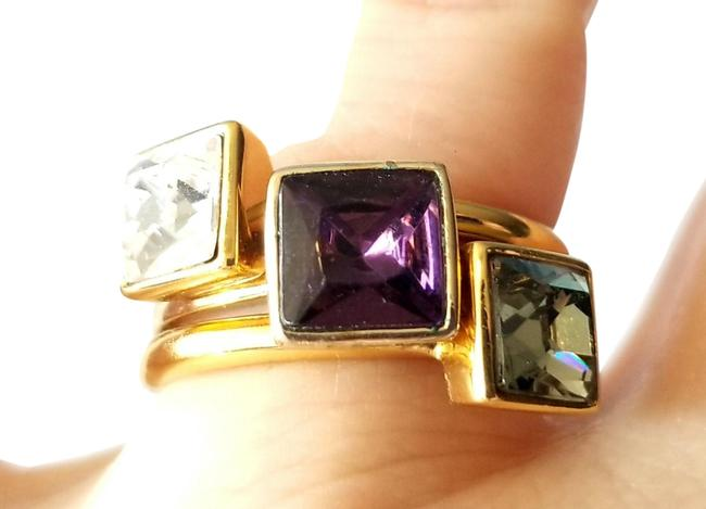 Item - Multicolor Gold Tone 3 Pc Stackable Set with Faux Crystals Design Ring