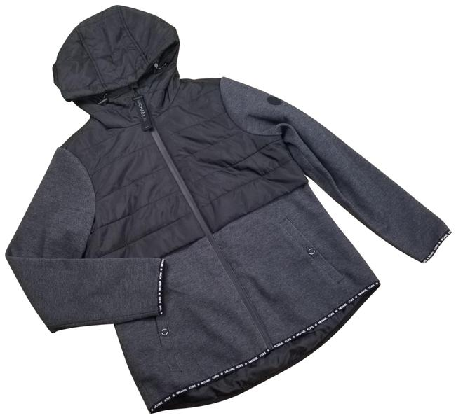 Item - Black Hooded Quilted Knit Zip Front Jacket Size 10 (M)