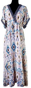 Mauve Maxi Dress by Johnny Was Boho Bohemian Embroidered Flattering Empire