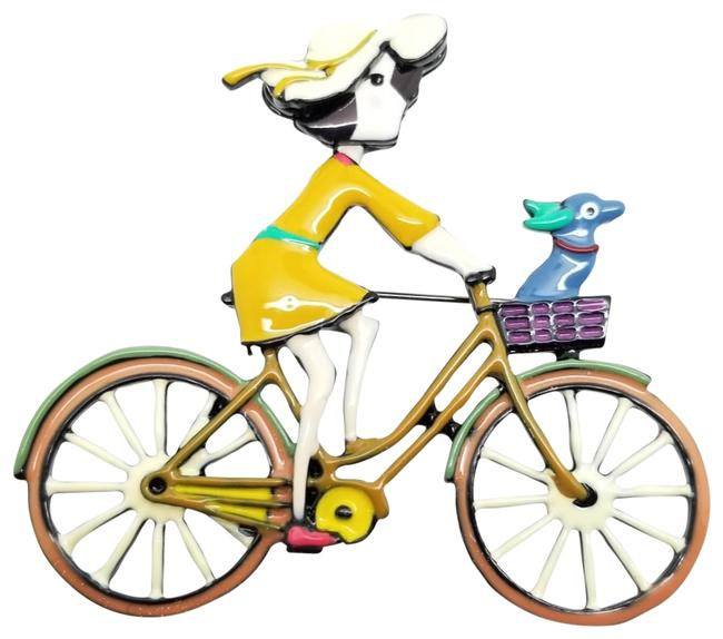 Item - Multi Color Girl Fancy Enamel In Hat with Dog Riding Bike Pin Brooch