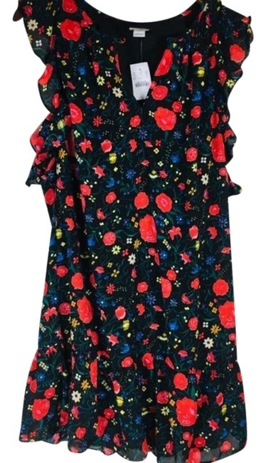 Item - Black Red Floral Ruffle Mid-length Short Casual Dress Size 6 (S)