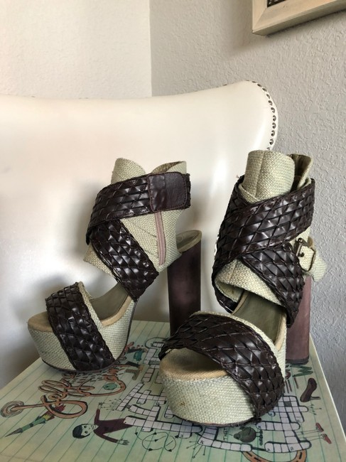Jeffrey Campbell Cream and Brown Wedge Platforms Size US 8 Regular (M, B) Jeffrey Campbell Cream and Brown Wedge Platforms Size US 8 Regular (M, B) Image 4