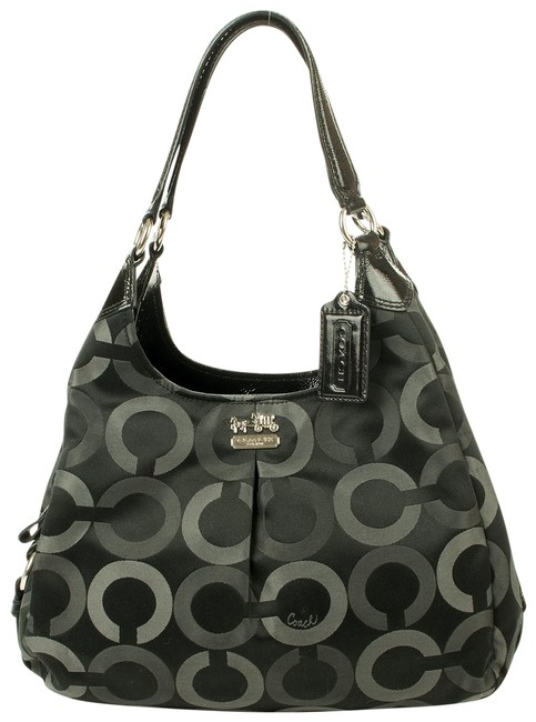 Coach Maggie Op Art Purse Black Canvas Shoulder Bag Coach Maggie Op Art Purse Black Canvas Shoulder Bag Image 1