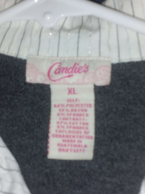 Candie's Gray White Striped Top