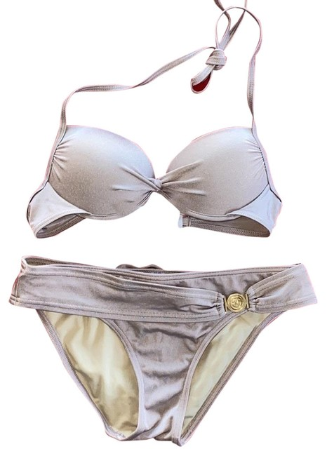 Item - Beige 2 Pc Push-up Swimsuit 34a Top + Small Bottoms Bikini Set Size 6 (S)