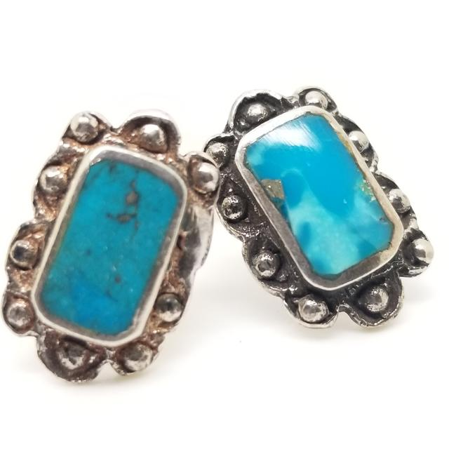Item - Blue Hand Crafted Sterling Silver Kingman Turquoise Stud Pierced Earrings