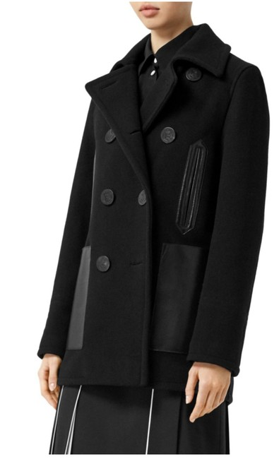 Item - Black Mossely Leather-trim Wool Coat Size 12 (L)