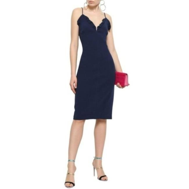 Item - Navy Blue Ruffle Mid-length Cocktail Dress Size 14 (L)
