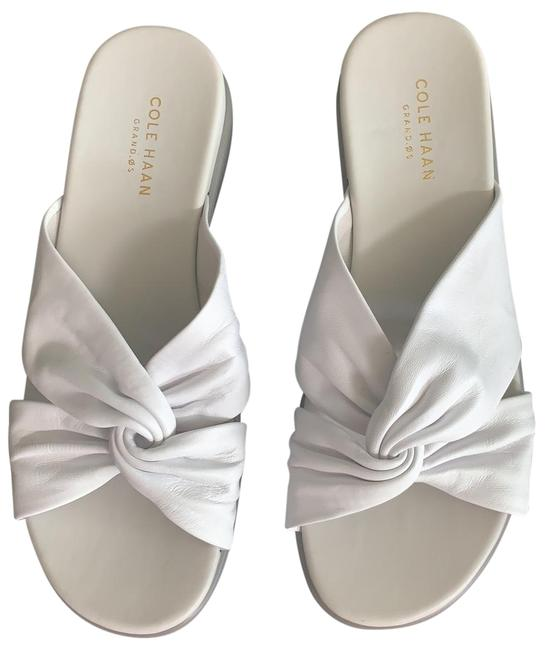 Item - White and Gray Leather Sandals Size US 7.5 Regular (M, B)