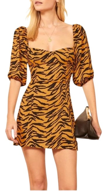 Item - Yellow Black Kopa Tigress Mini Short Casual Dress Size 12 (L)