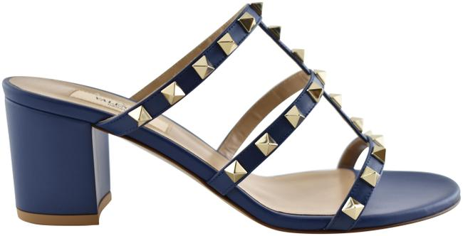 Item - Blue Rockstud City Slide 60mm Mule Navy Caged Sandal Block Heel Pumps Size EU 38 (Approx. US 8) Regular (M, B)