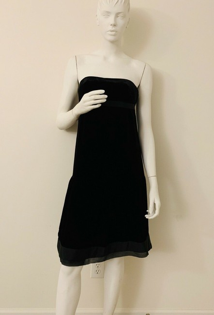 Juicy Couture Black Velvet Velour Lined In Silk Top New Mid-length Cocktail Dress Size 4 (S) Juicy Couture Black Velvet Velour Lined In Silk Top New Mid-length Cocktail Dress Size 4 (S) Image 2