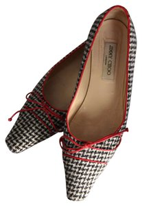 Jimmy Choo Houndstooth Leather Pointed Toe Black, White, Red Flats